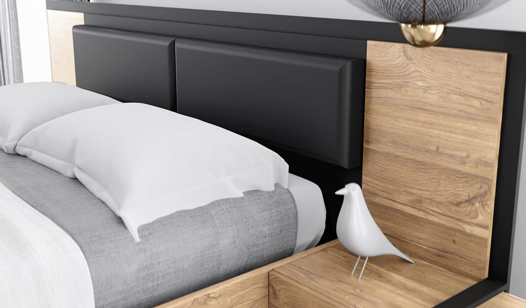 Ліжко з колекції меблів Acazio. Виробник - меблі Форте. Польща