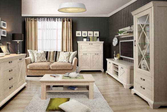 Меблі у вітальню у дизайні прованс. Колекція Кашмір. Польща. Меблі Forte