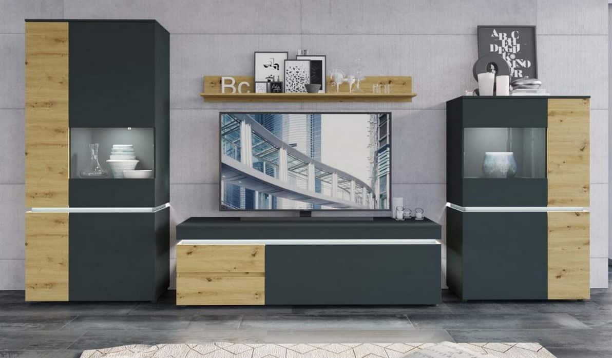 Колекція меблів Luci у сірому кольорі фото в інтер'єрі вітальні. Меблі Вуйчик в Україна