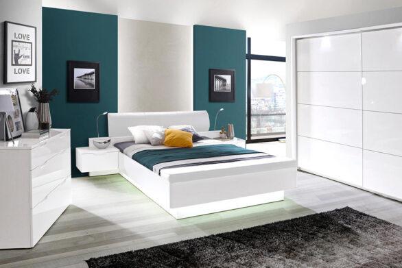 Комплект меблі для спальні. Спальня білосніжного кольору. Фабрика Форте. Польща
